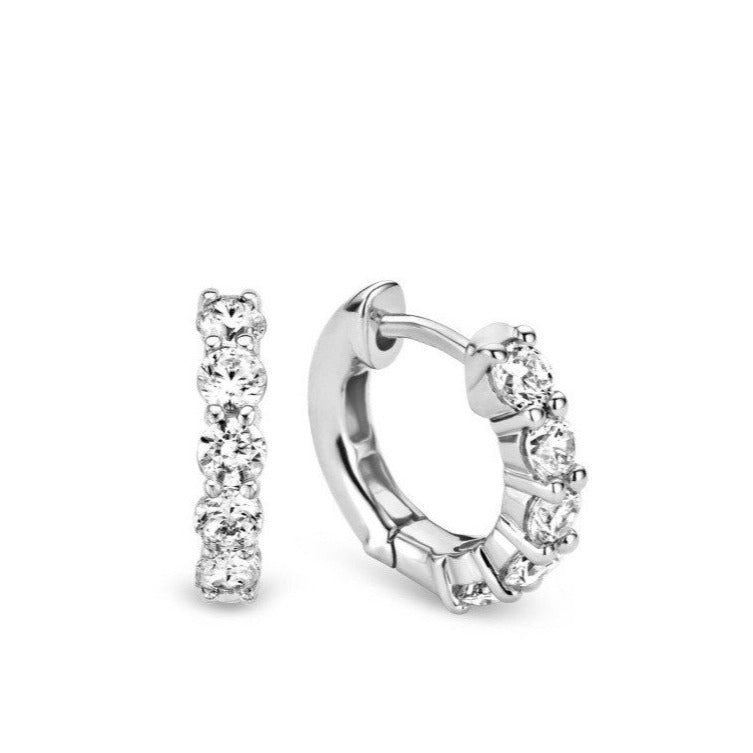 TI SENTO Sterling Silver Prong Set Huggie Earrings