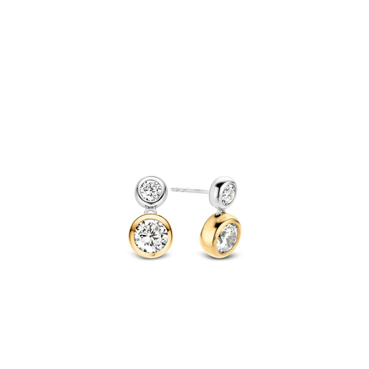 TI SENTO Sterling Silver Two Tone Earrings with Two Bezel Set Cubic Zirconia