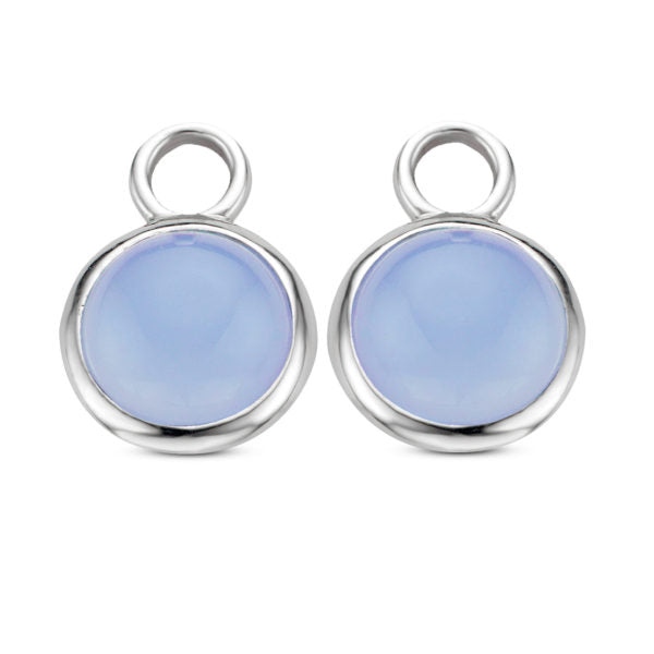 TI SENTO Sterling Silver Ear Charms with Round Cabochon Blue Stones