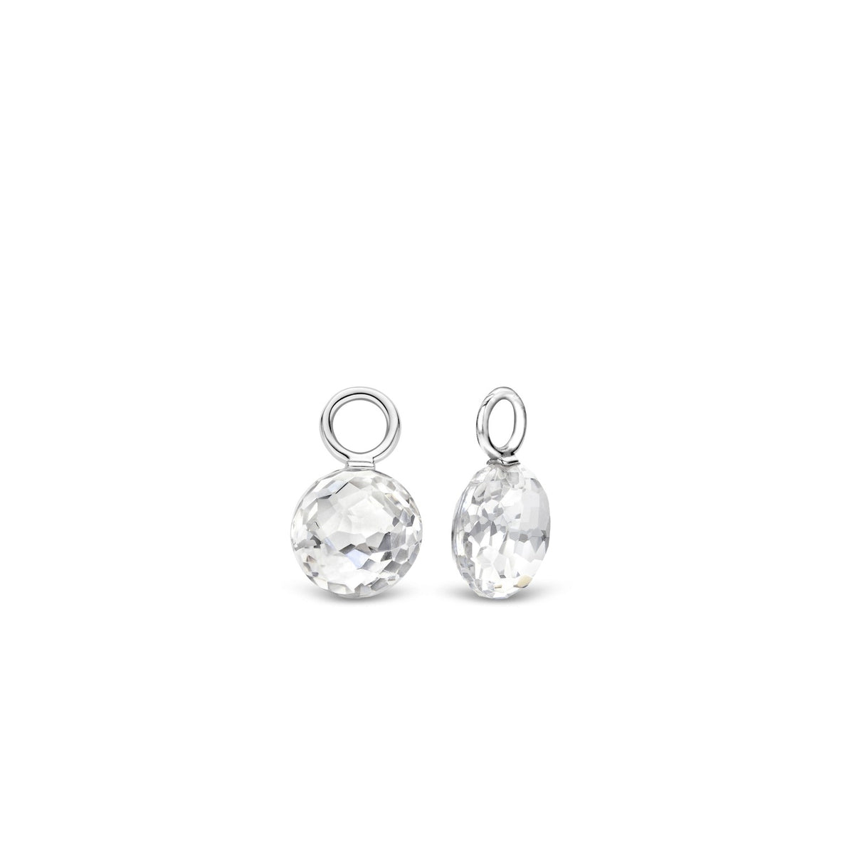 TI SENTO Sterling Silver Ear Charms with Round Clear Faceted Stone