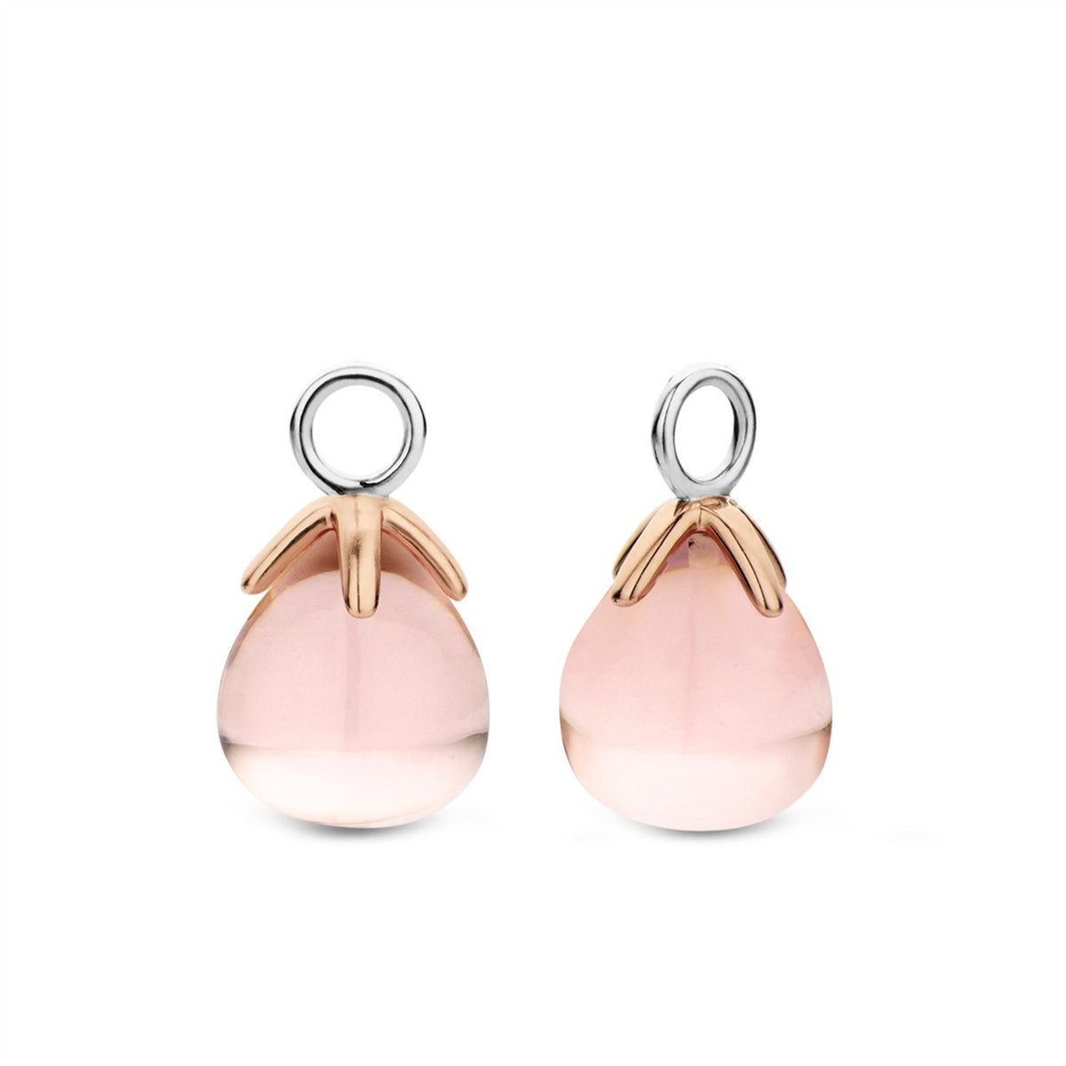 TI SENTO Sterling Silver and Rose Tone Ear Charms with Pink Stone Drops