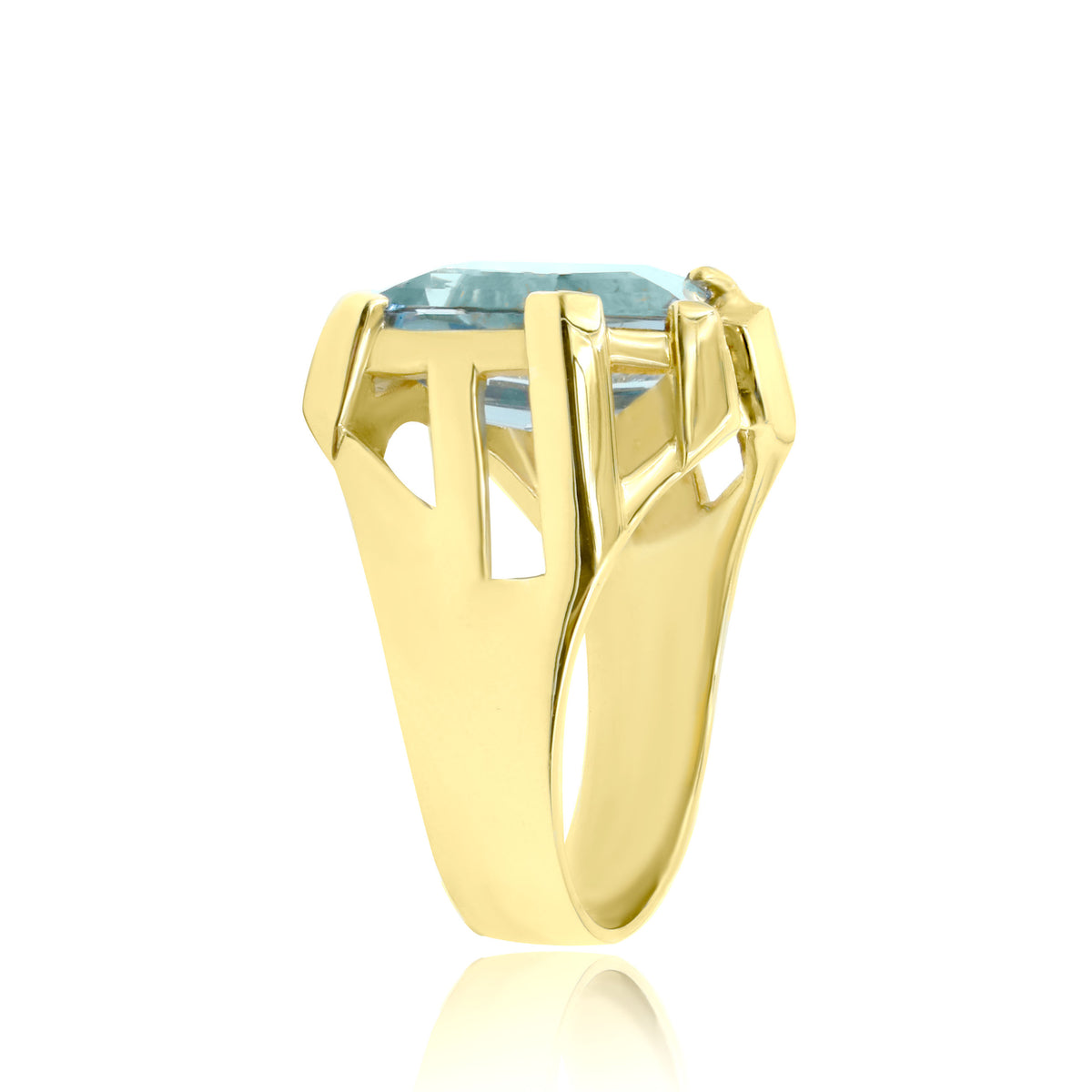 14K Yellow Gold Organic Blue Topaz and Diamond Ring