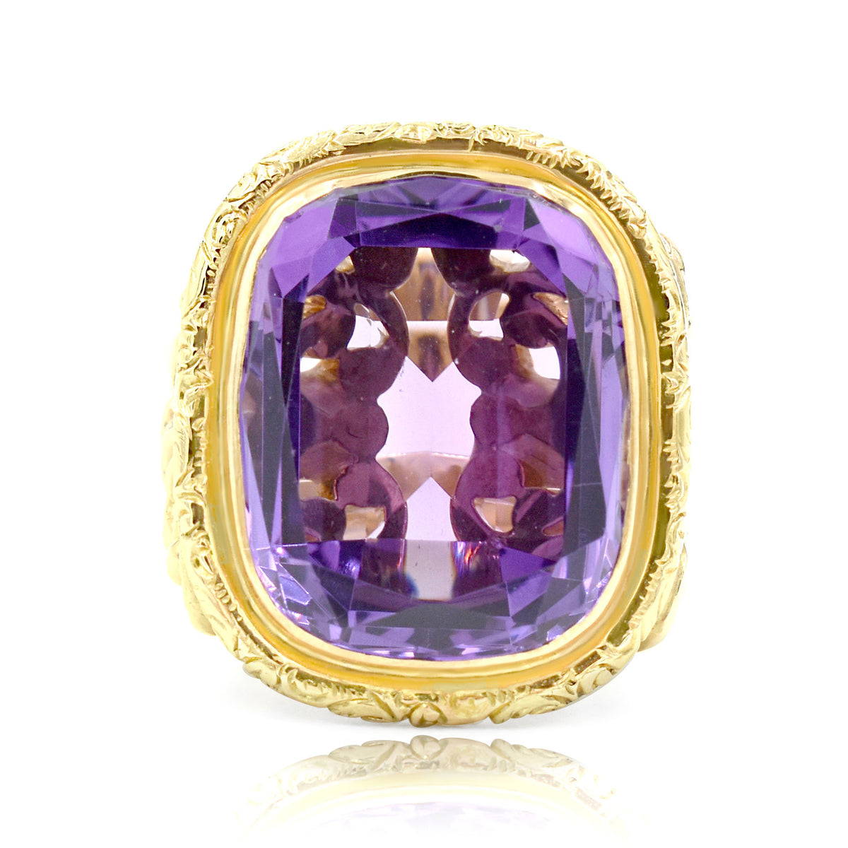 14K Yellow Gold Ornate Design Amethyst Ring