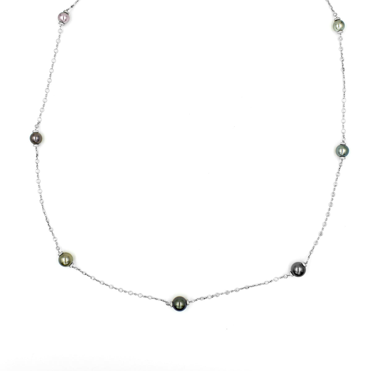 Beaudry Platinum Tahitian Pearls and Diamond Necklace