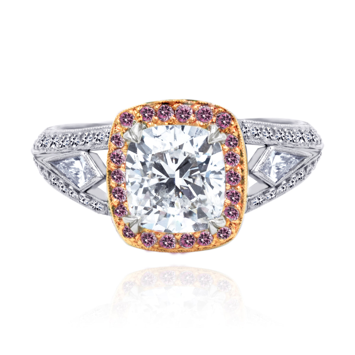Beaudry Platinum and 18K Rose Gold Cushion Cut Diamond Ring