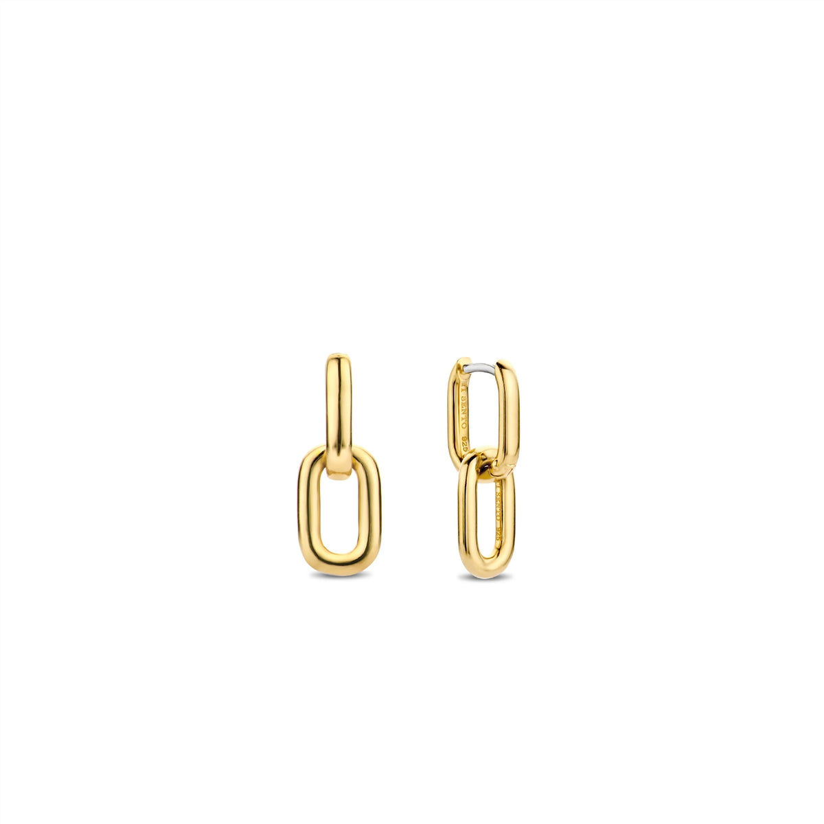 TI SENTO Sterling Silver Gold Tone Chain Link Earrings