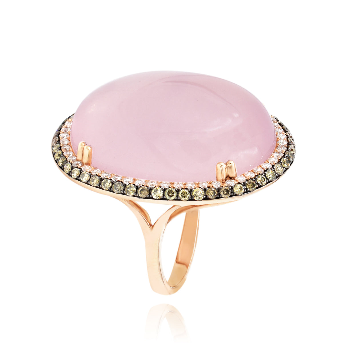 Dabakarov 14K Rose Gold Rose Quartz and Diamond Ring