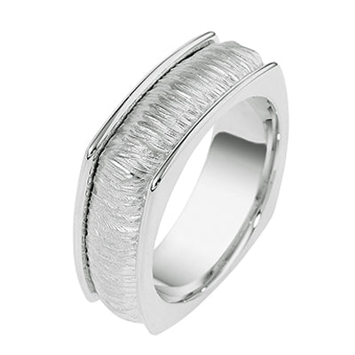 Men's Dora 14K White Gold 8mm Wedding Band