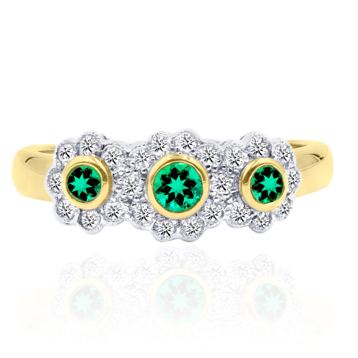 18K Two Tone Emerald and Diamond Flower Ring
