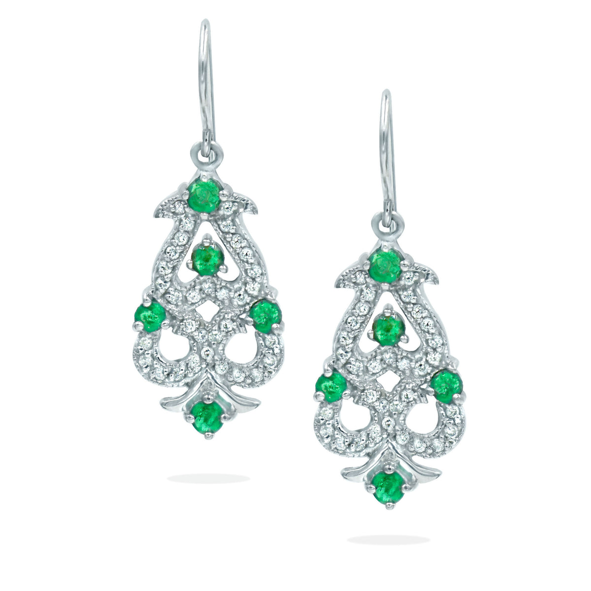 14K White Gold Open Work Diamond and Emerald Earrings
