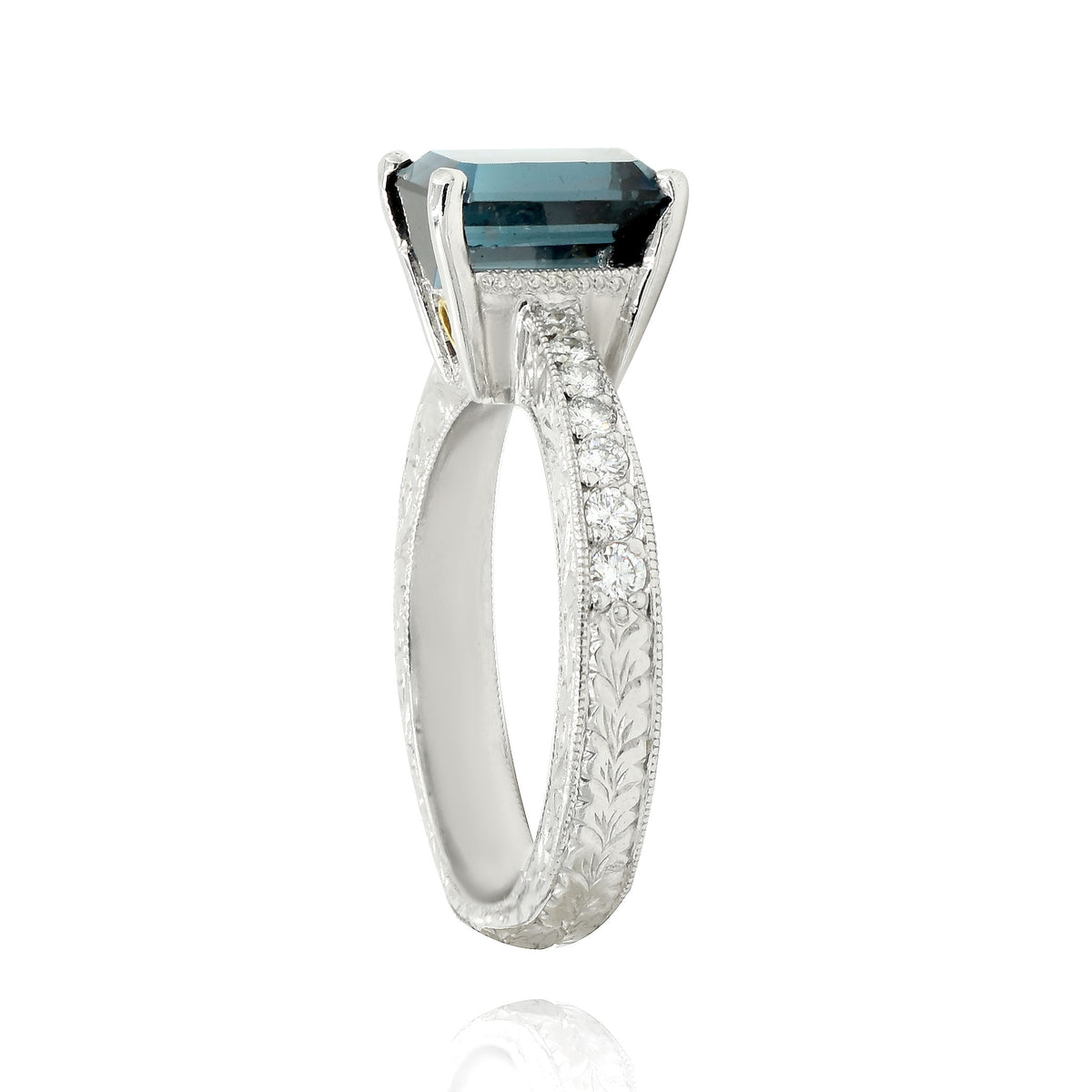 Platinum Beaudry Ring with an Indicolite Tourmaline