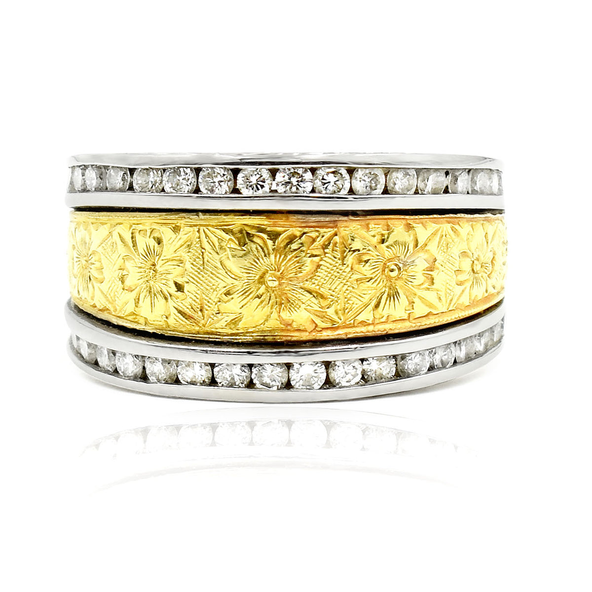 14K Two Tone Engraved Band with Diamonds