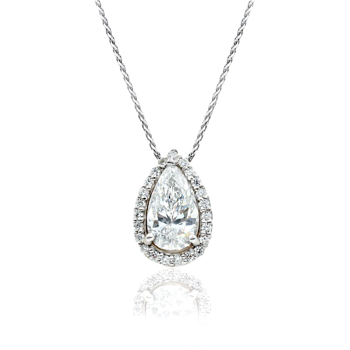 14K White Gold Pear Diamond Halo Pendant