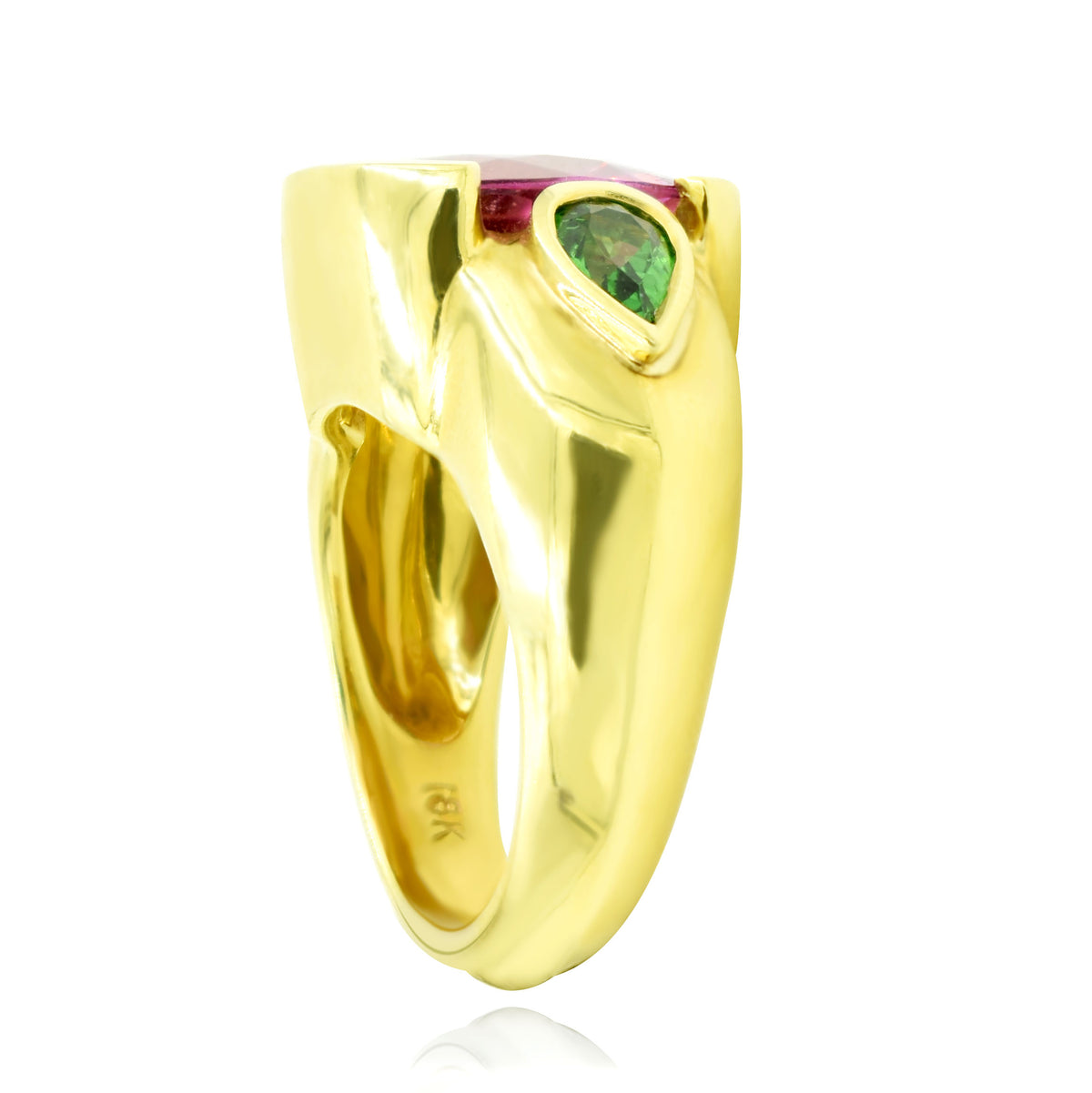 18K Yellow Gold Cushion Shaped Pink Tourmaline and Tsavorite Ring