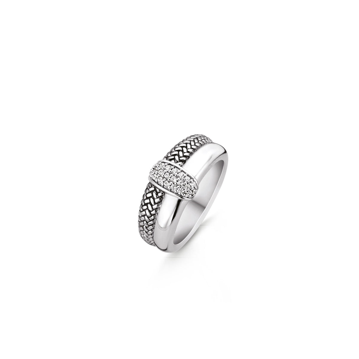 TI SENTO Sterling Silver Weave Band with Cubic Zirconia Center