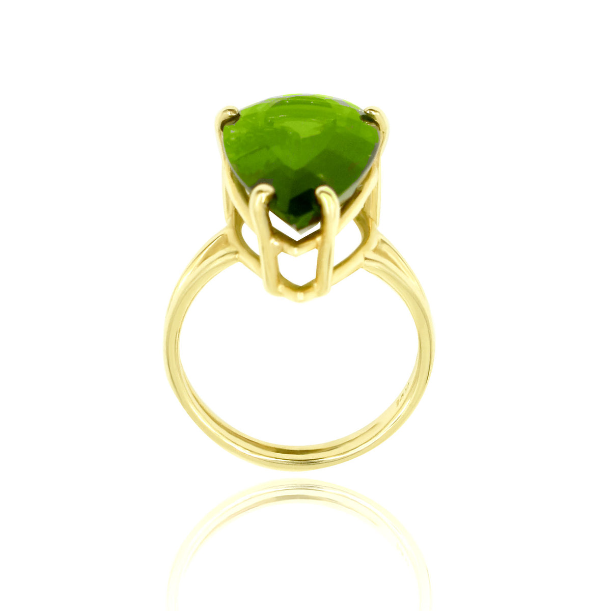 14K Yellow Gold Split Shank Green Tourmaline Ring