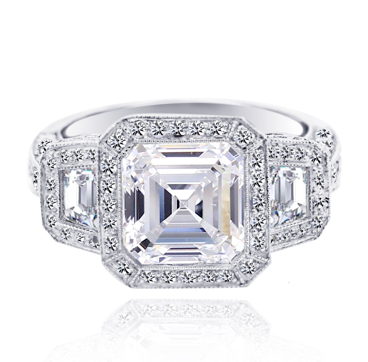 JB Star Platinum Halo Assher Cut Diamond Ring