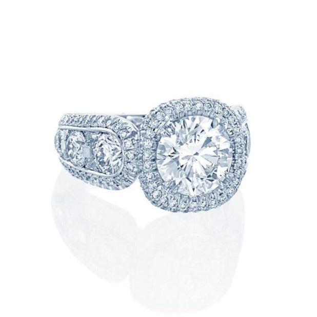 JB Star Platinum Halo Diamond Ring With Round Brilliant Cut Center Stone