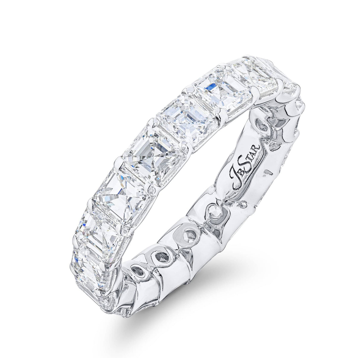 JB Star Platinum Assher Cut Diamond Eternity Band