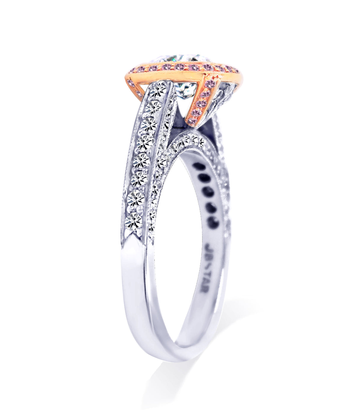 JB Star Platinum and Rose Gold Halo Cushion Cut Diamond Ring