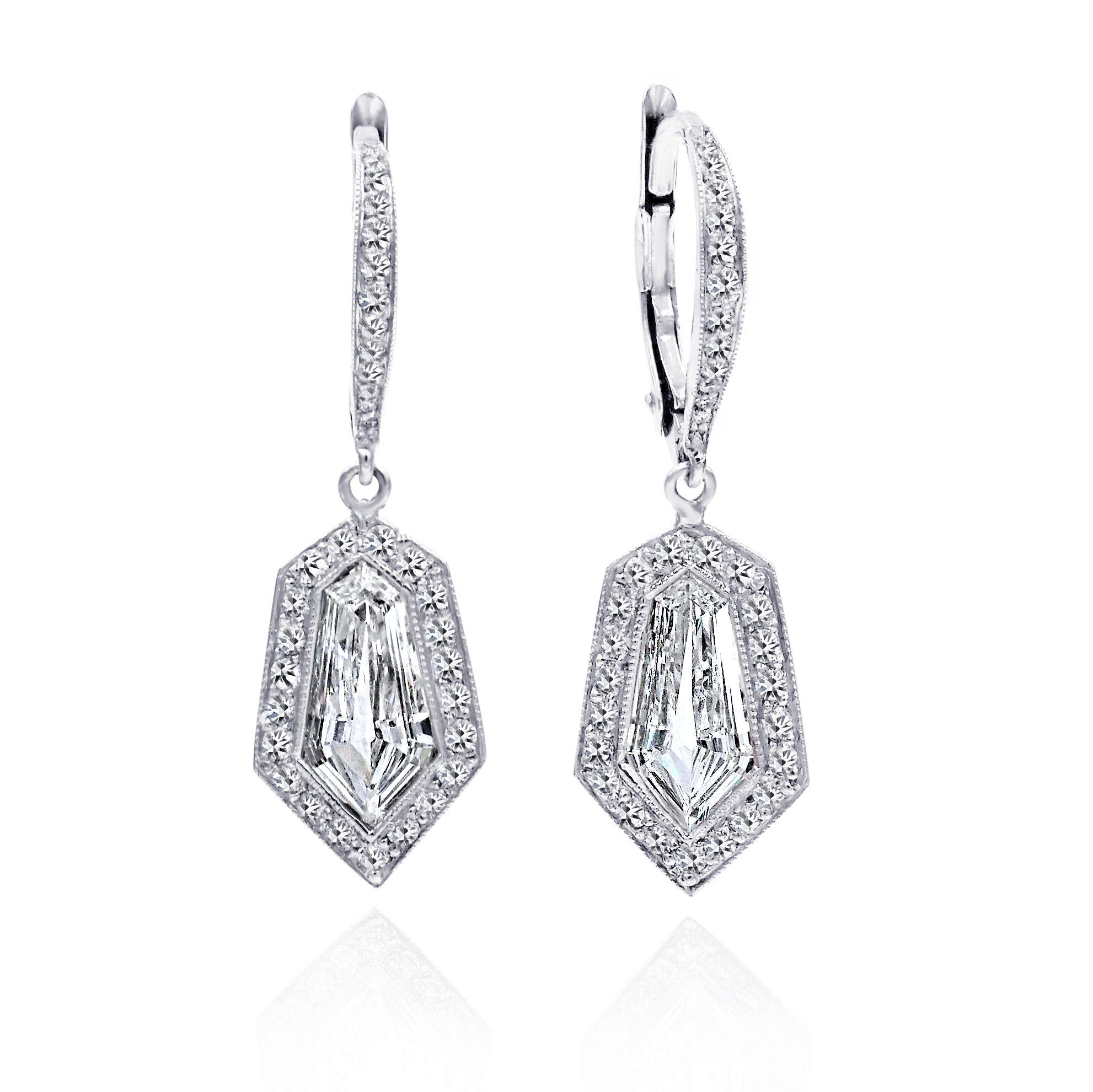 JB Star Platinum Halo Earrings with Kite Shaped Diamonds