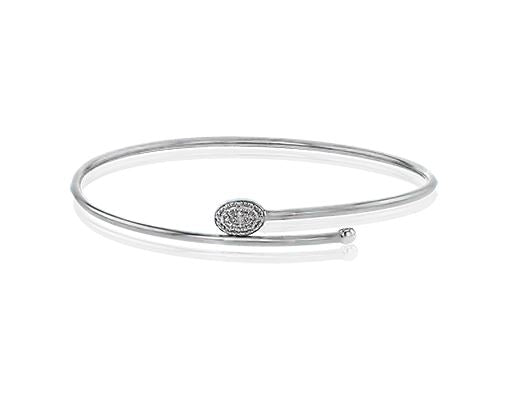 Simon G 18K White Gold Diamond Bypass Bangle