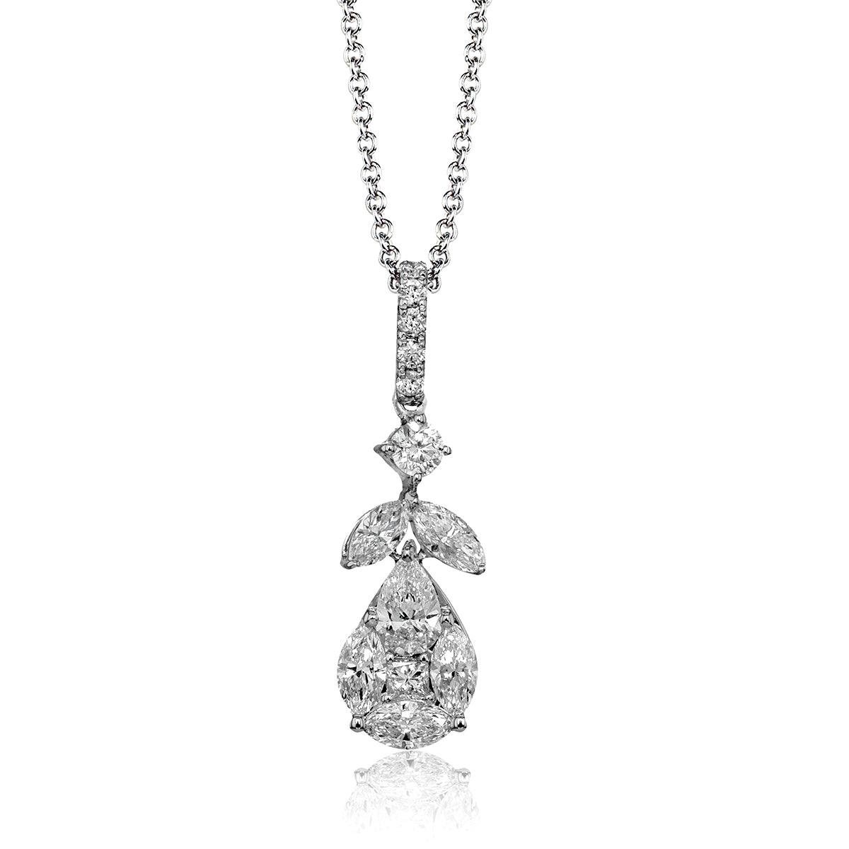 Simon G 18K White Gold Pear Shaped Pendant with Multi Diamond Cluster