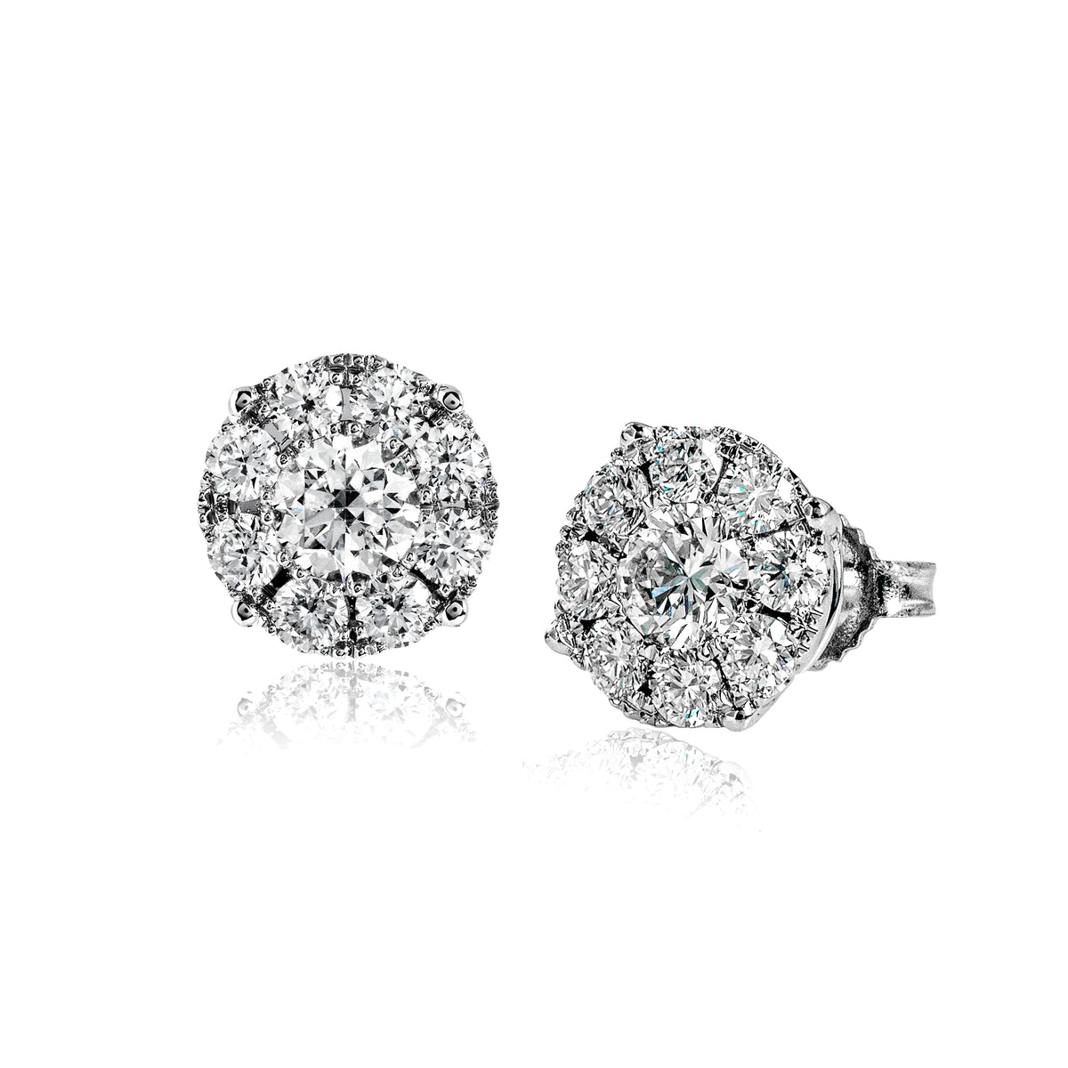 Simon G 18K White Gold Diamond Cluster Earrings