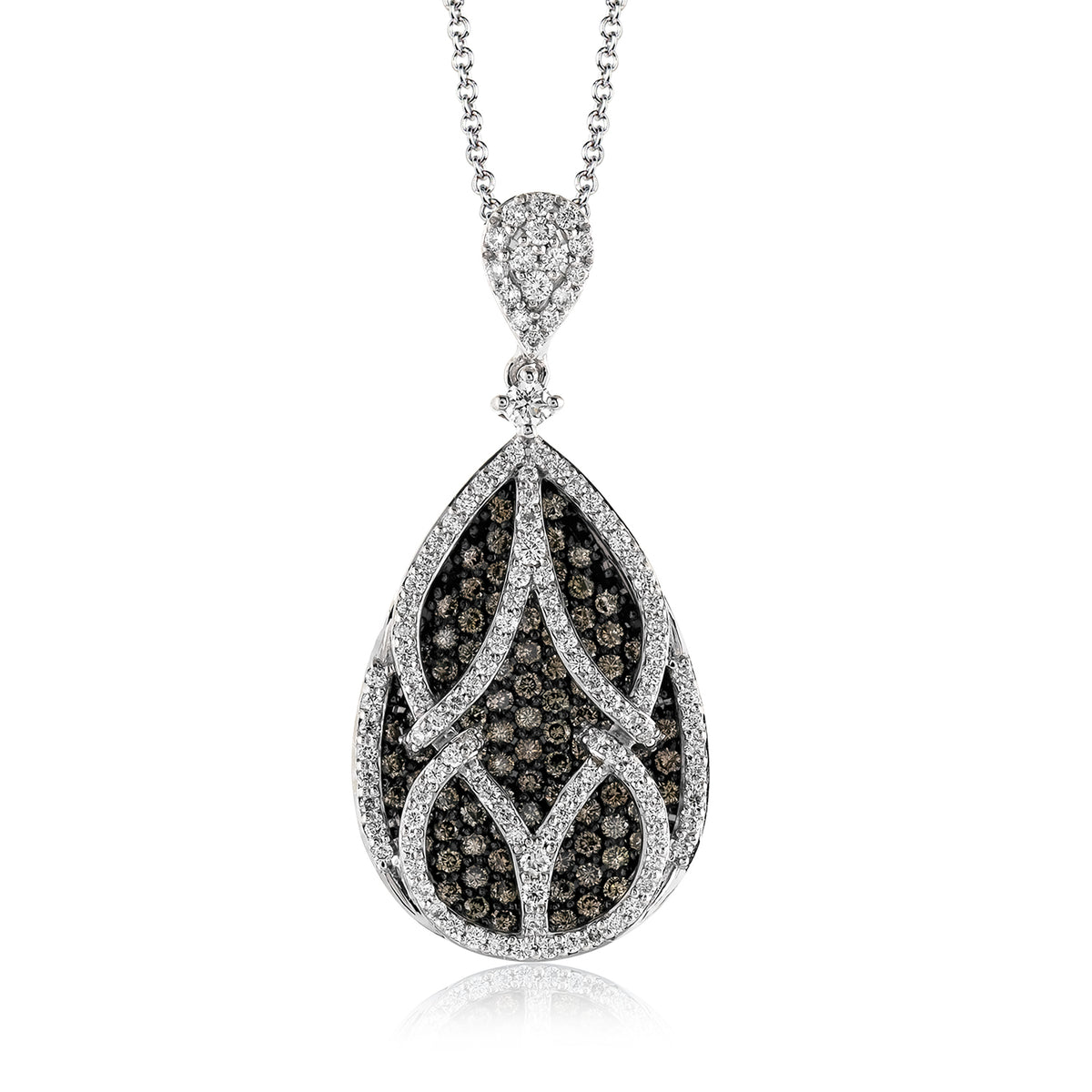 Simon G 18K White Gold Cognac and White Diamond Pear Shape Pendant