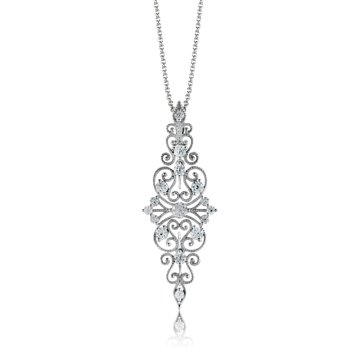 Simon G 18K White Gold Filigree Design Pendant
