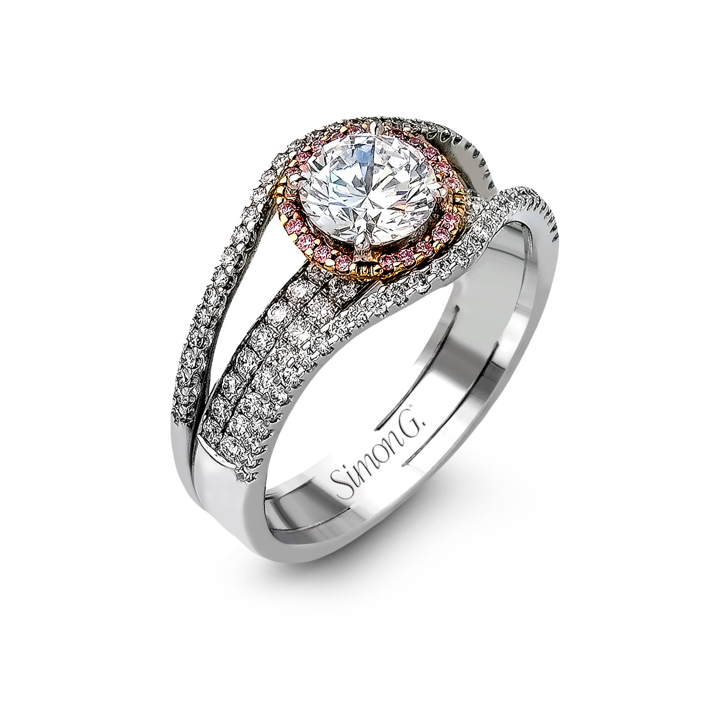 Simon G 18K White Gold Diamond Halo Engagement Setting