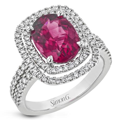Simon G 18K White Gold Rubelite Tourmaline and Diamond Ring