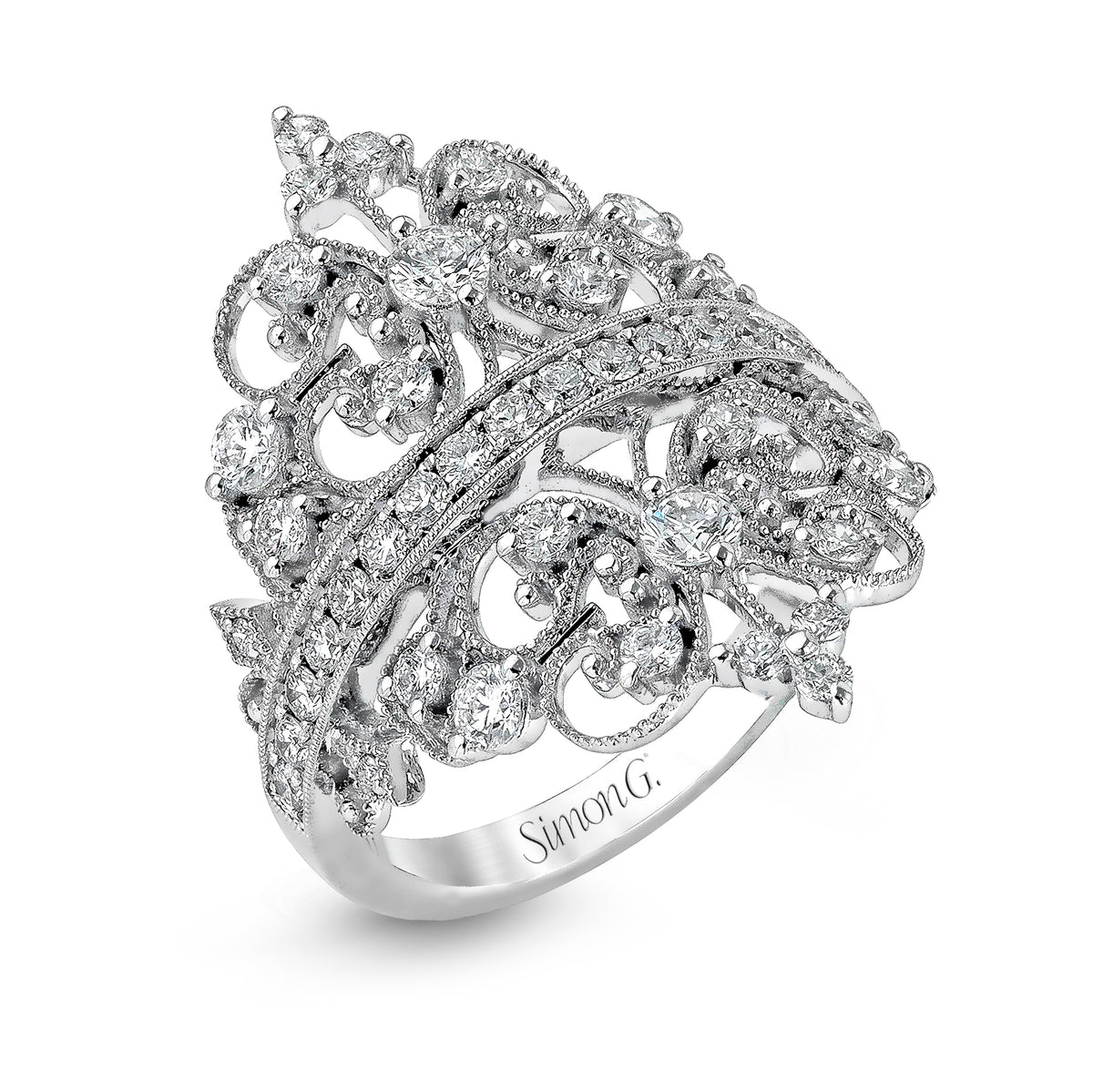 Simon G 18K White Gold Crown Design Ring