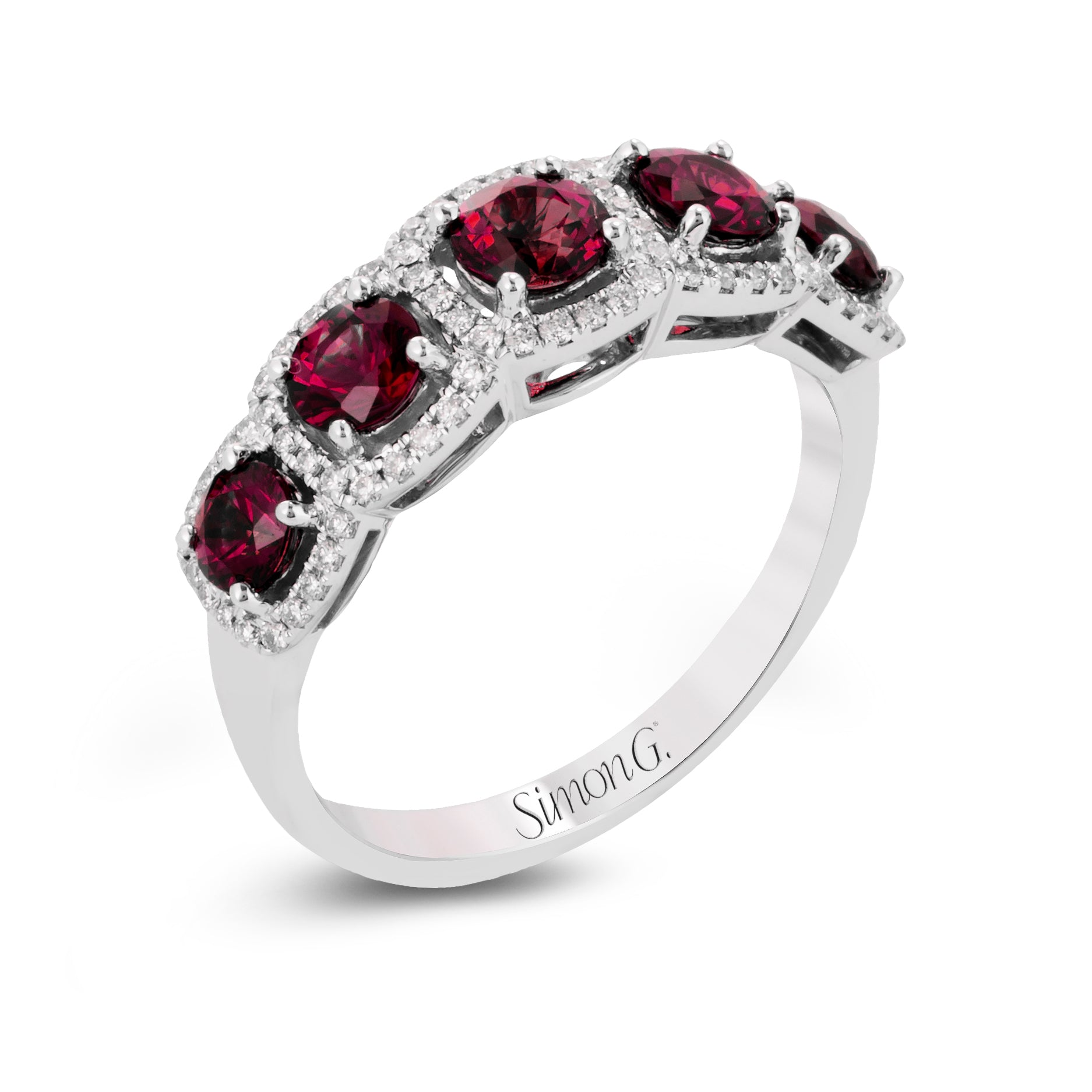 Simon G 18K White Gold Ruby and Diamond Halo Anniversary Band