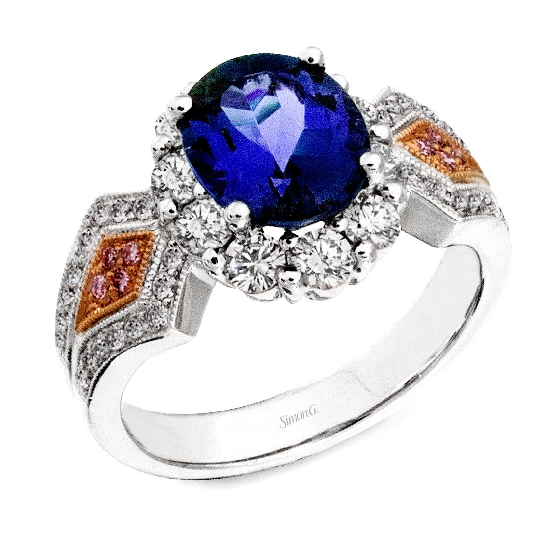 Simon G 18K White and Rose Gold Tanzanite Ring