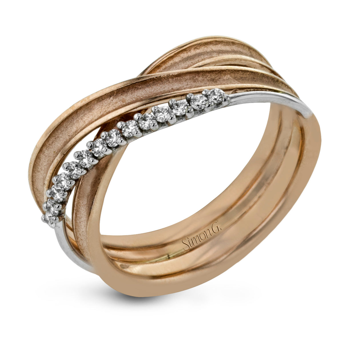 Simon G 18K Two Tone Crossover Design Ring