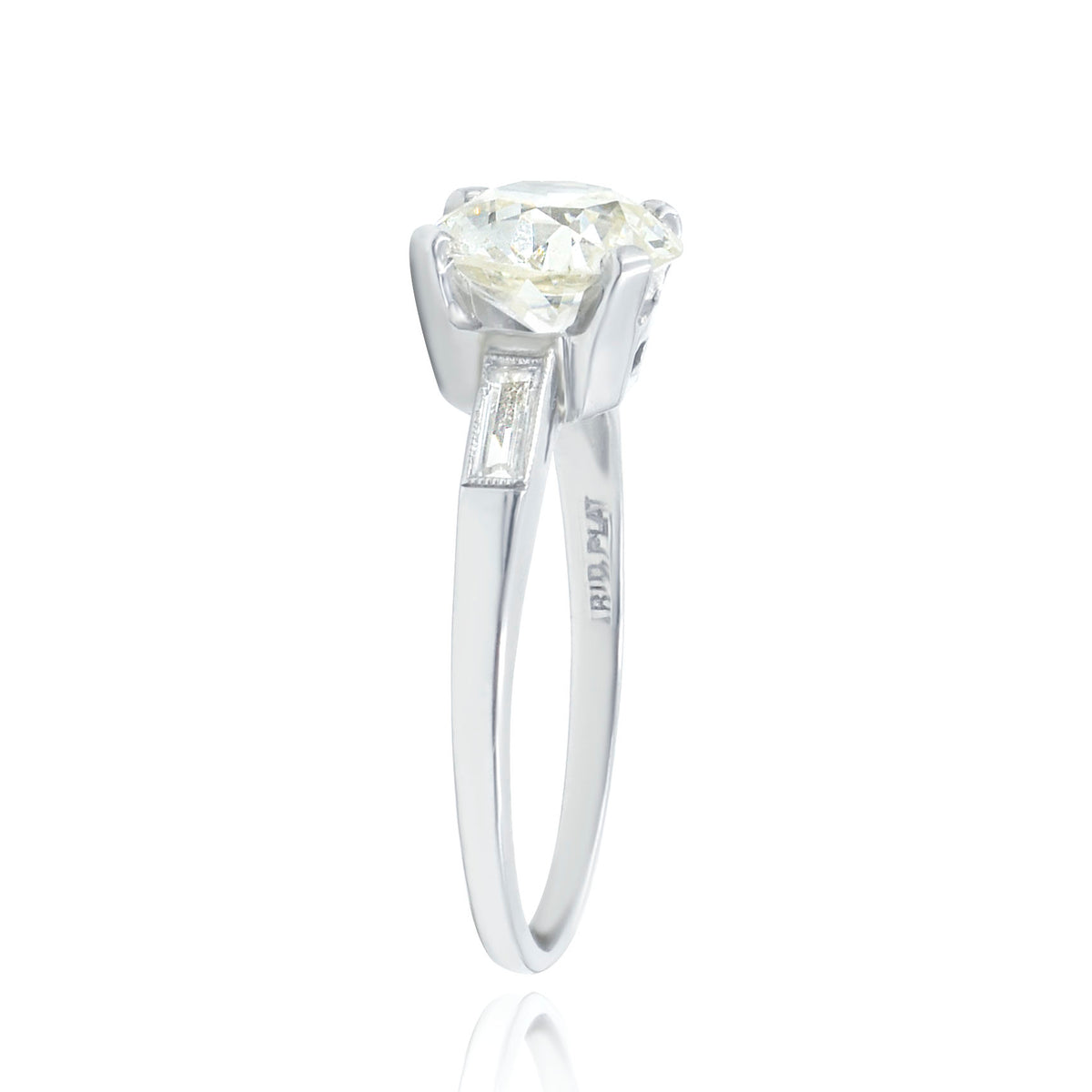Platinum Engagement Ring with 1.92ct Euro Cut Diamond