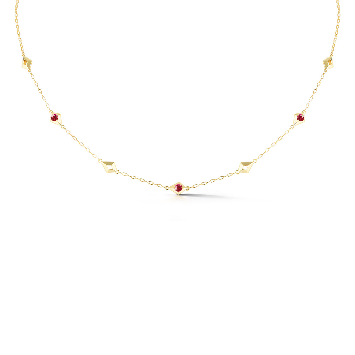 Valani 18K Yellow Gold Ruby Station Necklace
