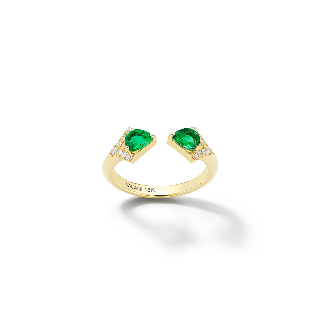 Valani 18K Yellow Gold Rival II Emerald Two Stone Ring