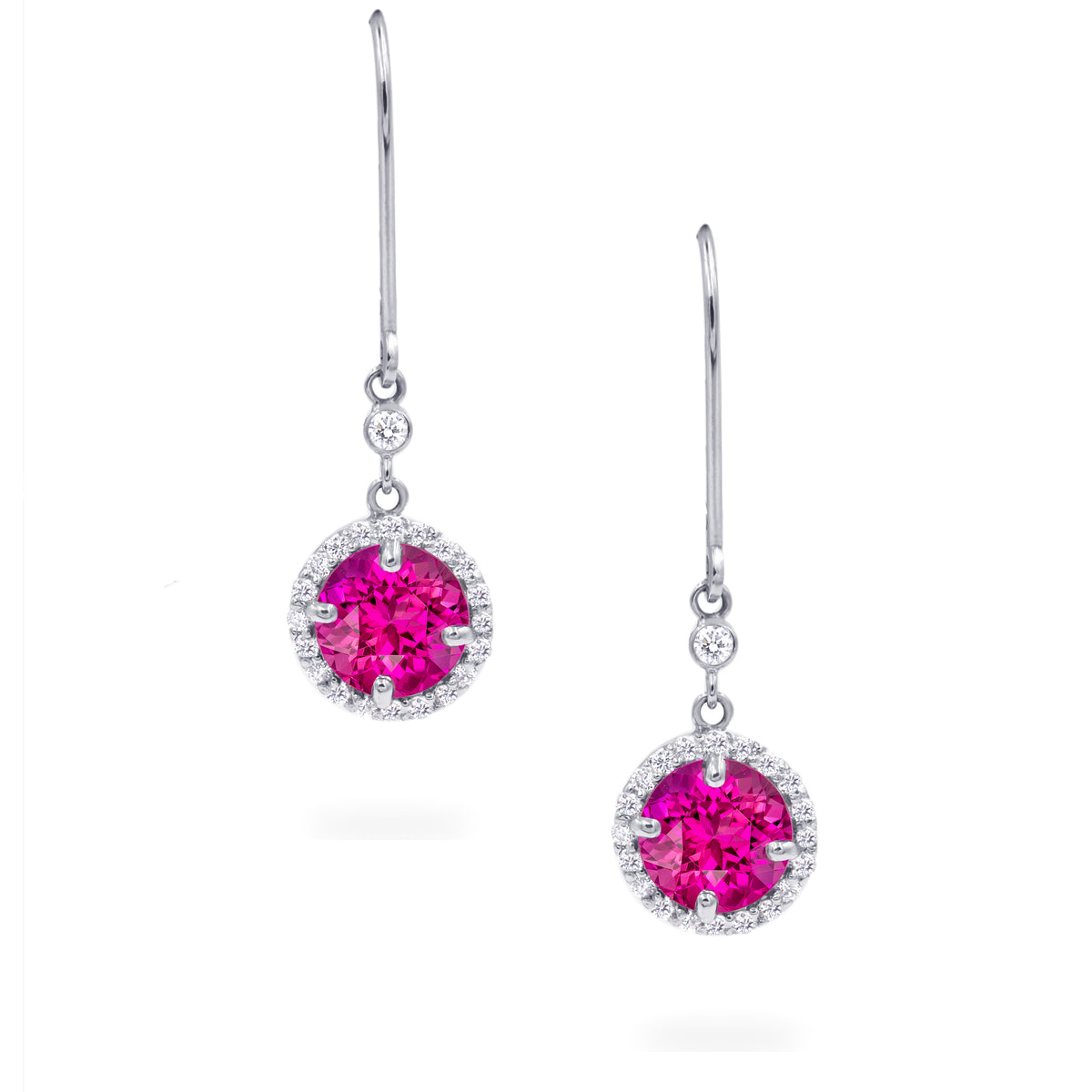14K White Gold Tourmaline and Diamond Halo Earrings