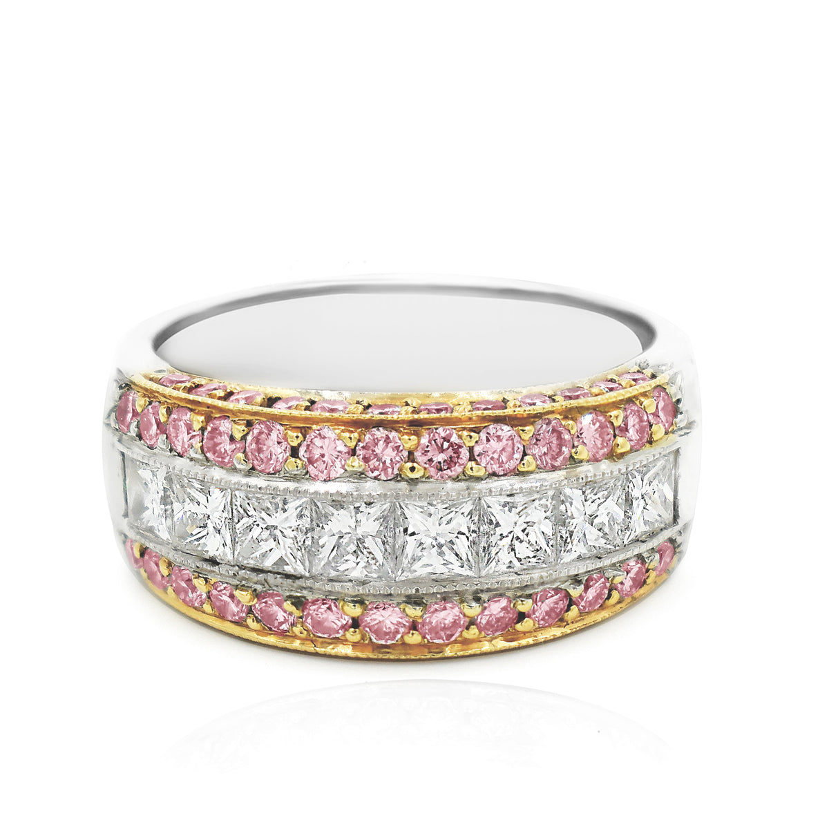 JB Star Platinum and 18K Rose Gold Bright Set Channel Band