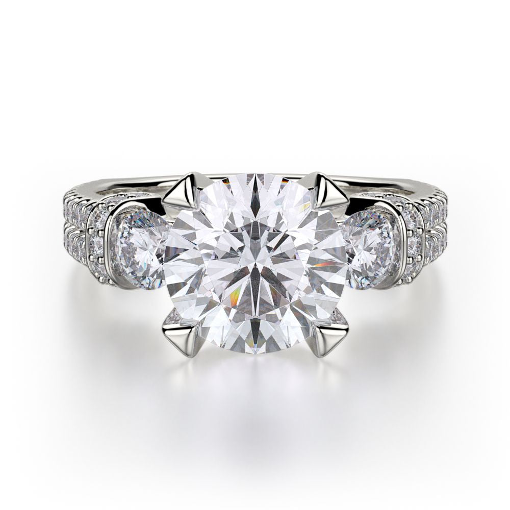 Michael M 18KWG Trinity Engagement Ring Setting