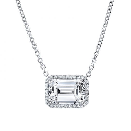 Rahaminov 18K White Gold Halo Emerald Cut Diamond Necklace