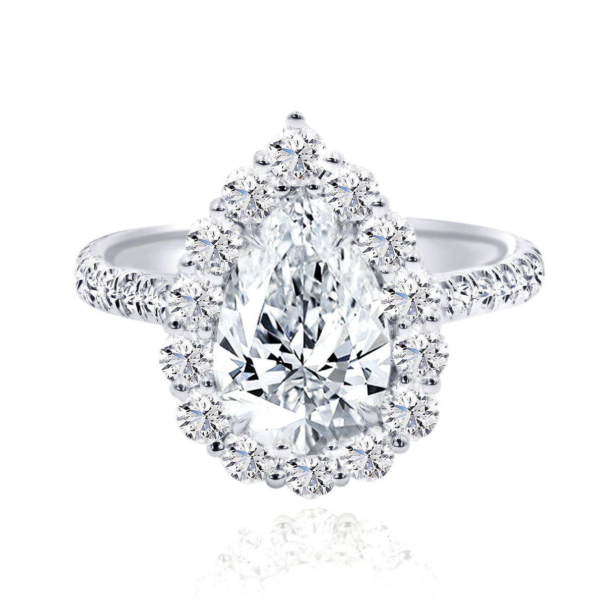Rahaminov 18K White Gold 2.06ct Pear Halo Diamond Ring