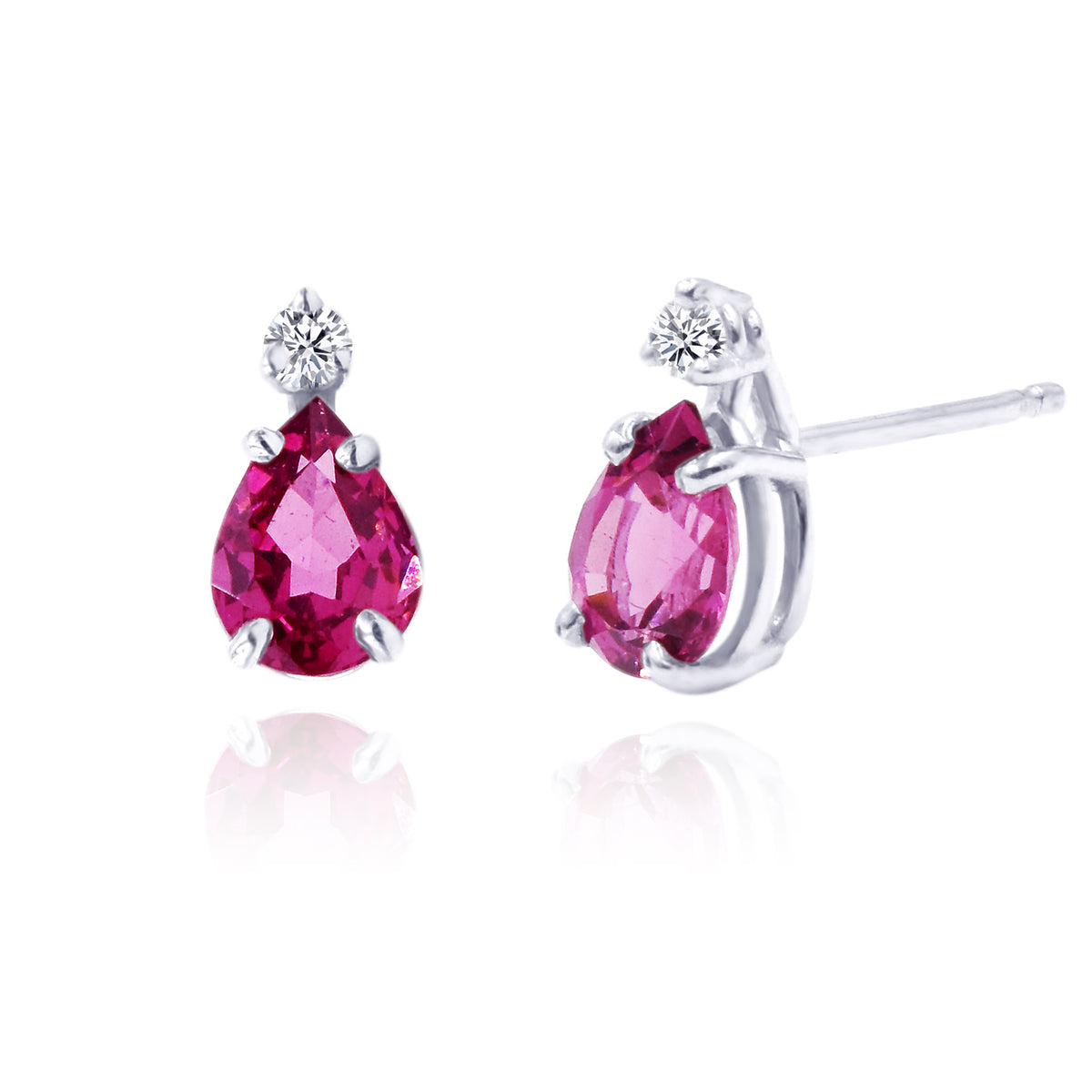 14K White Gold Rhodolite Garnet and Diamond Stud Earrings