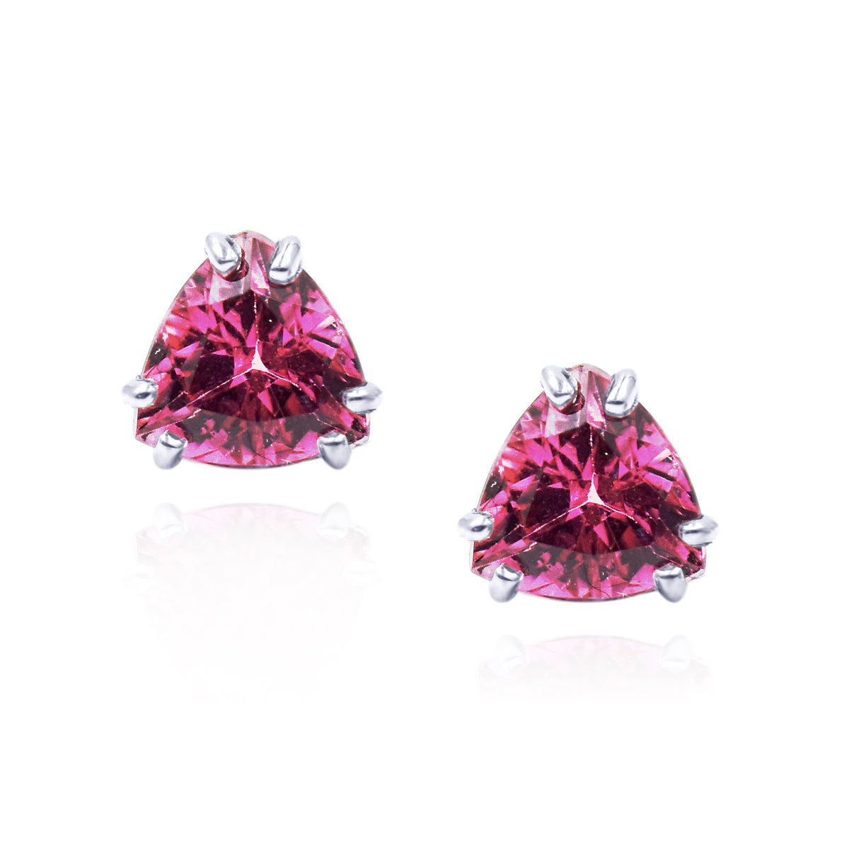 14K White Gold Triangle Cut Pink Tourmaline Stud Earrings