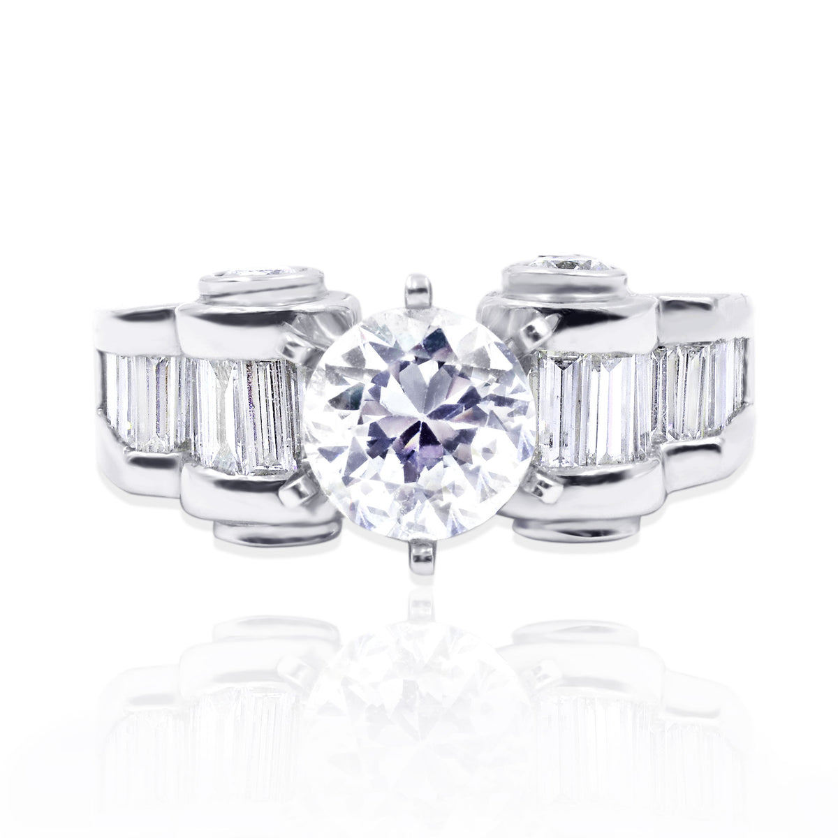 Platinum Baguette and Round Brilliant Cut Diamond Ring Mounting