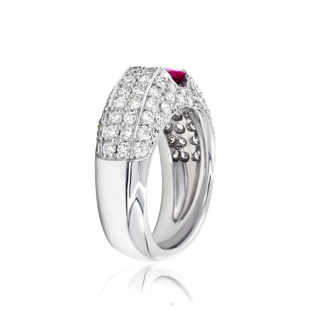 14K White Gold Ruby and Pave Diamond Ring