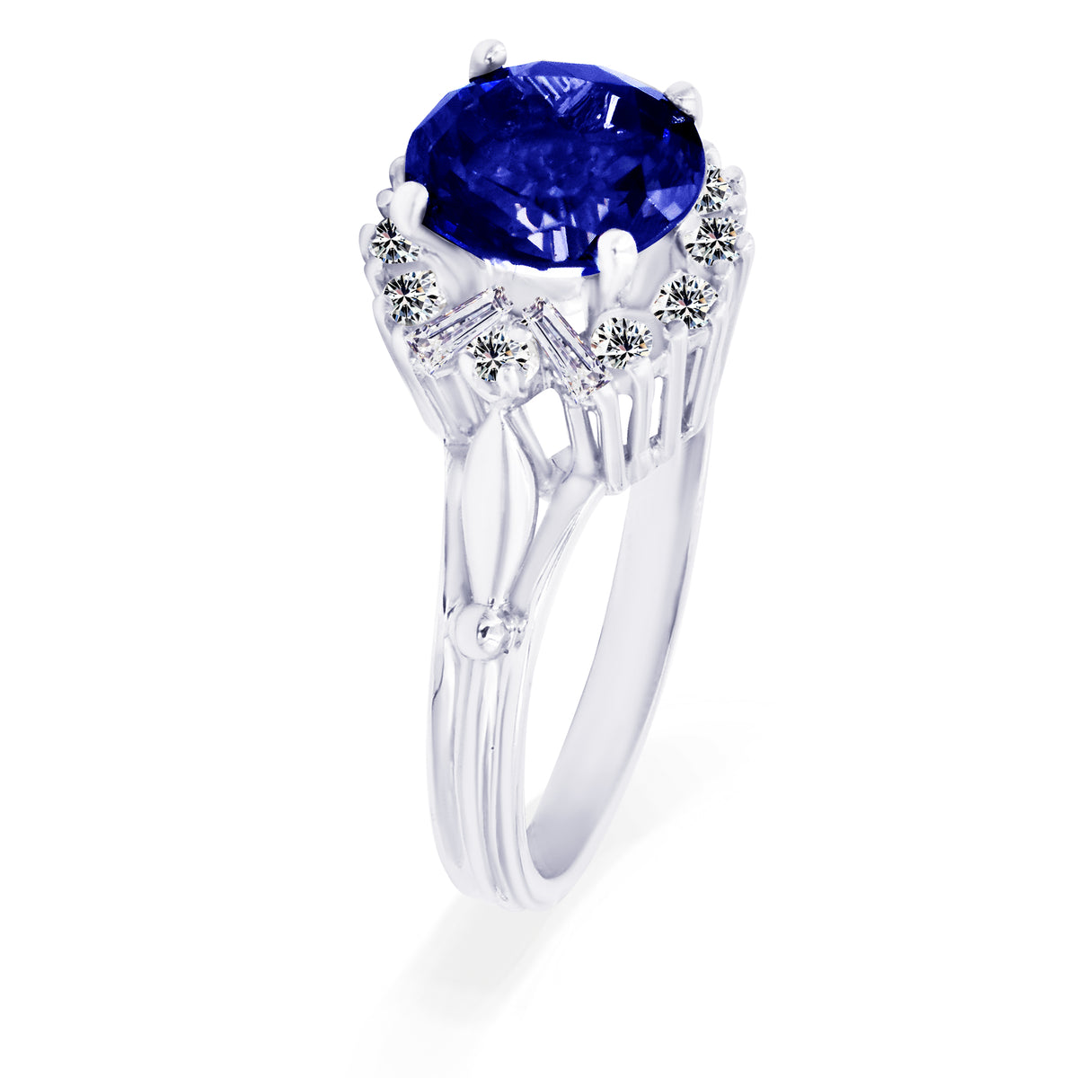 20K White Gold Iolite and Diamond Ring