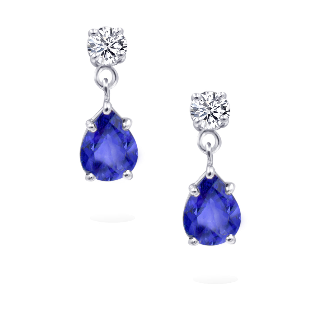 14K White Gold Sapphire and Diamond Stud Dangle Earrings